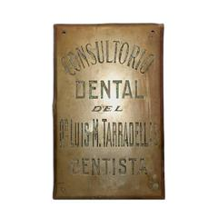 Vintage Argentine Brass Dentist's Placard Sign from Buenos Aires