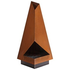 Thee by Space 20th Century Modern a Steel Fire Pit Outdoor Chiminea Fireplace