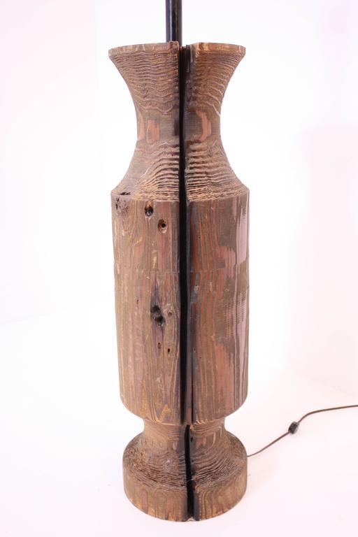 large midcentury turned wood lamp for sale at 1stdibs. Black Bedroom Furniture Sets. Home Design Ideas