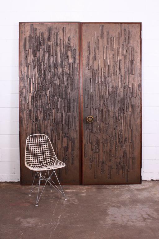 American Double Sided Architectural Bronze Brutalist Doors by Forms and Surfaces For Sale