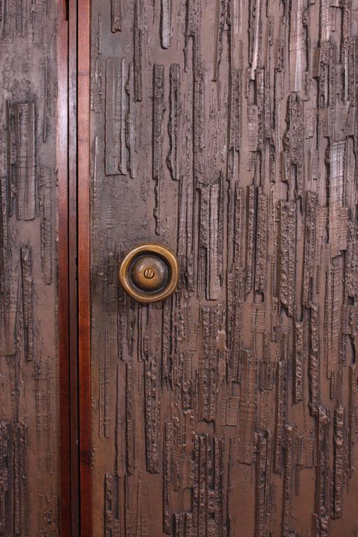 Mid-20th Century Double Sided Architectural Bronze Brutalist Doors by Forms and Surfaces For Sale