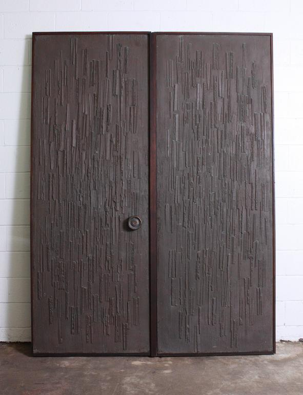 Double Sided Architectural Bronze Brutalist Doors by Forms and Surfaces For Sale 1