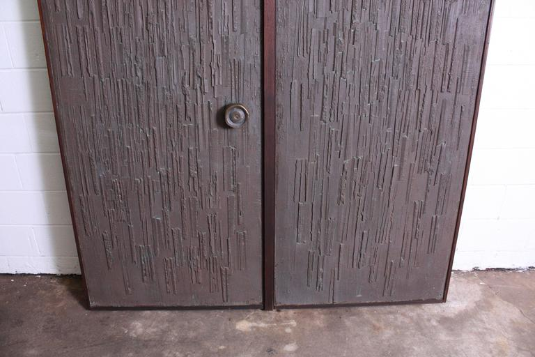 Double Sided Architectural Bronze Brutalist Doors by Forms and Surfaces For Sale 5