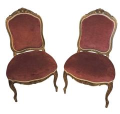 Pair of Giltwood and Rose Velvet 19th Century Louis XV Style Chairs