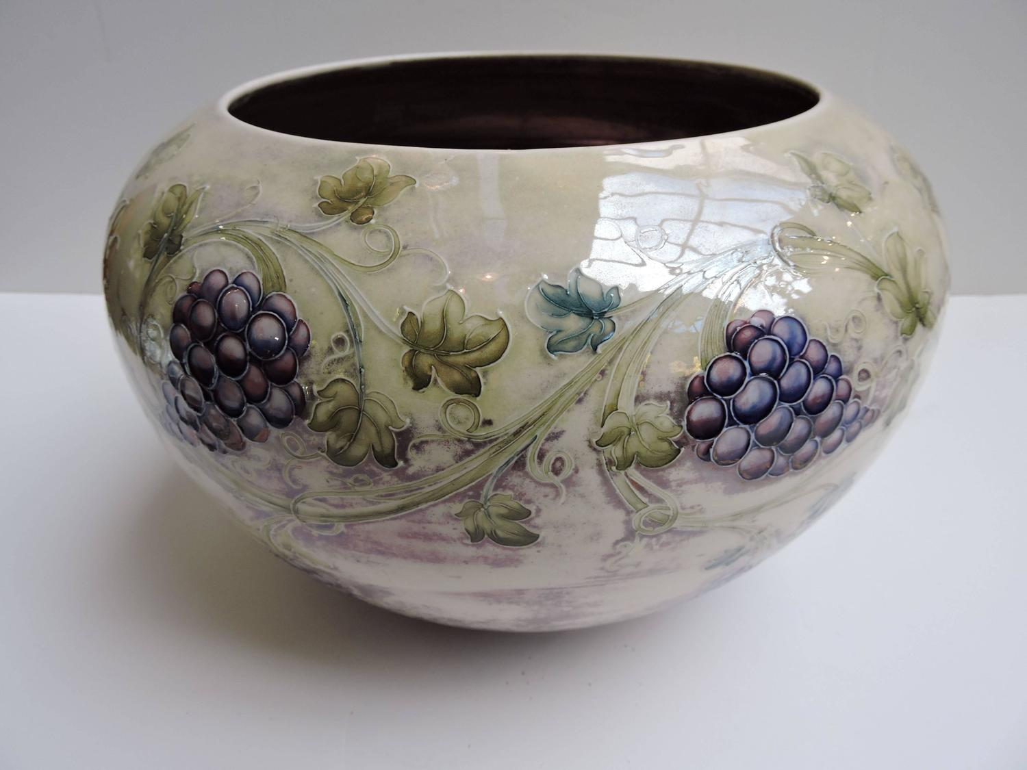 William Moorcroft Made For Tiffany And Co Grape Decoration Jardiniere Circa 1910 For Sale At