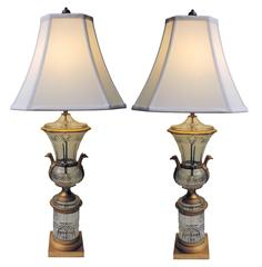 Pair of Austrian Bronze and Crystal Lamps, circa 1950