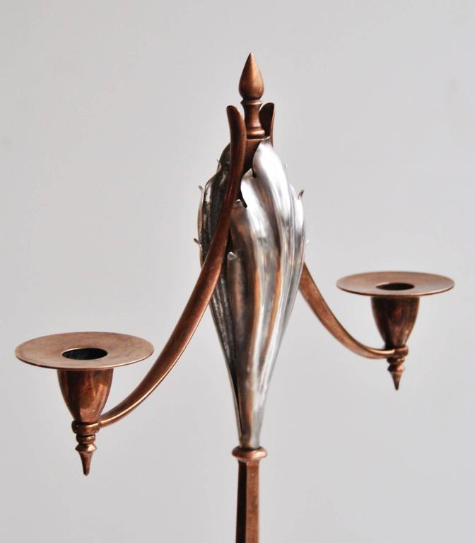 Pair of arts and crafts candelabra by w a s benson at 1stdibs for Arts and crafts candle sconces
