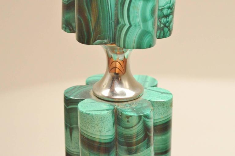 Art Deco Decorative Carved Malachite Stone And Chrome