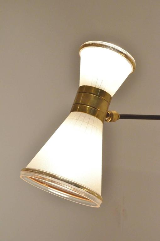 Two Mid-Century Modern French Design Brass and Glass Wall Lamps Sconces at 1stdibs