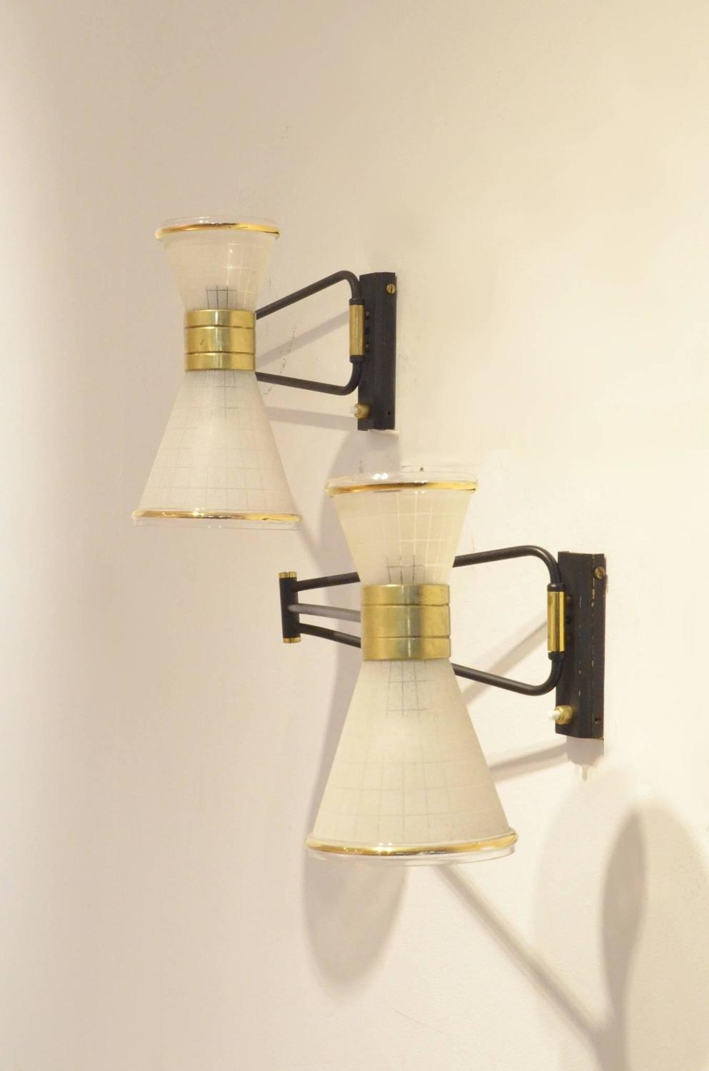 Wall Sconces Mid Century : Two Mid-Century Modern French Design Brass and Glass Wall Lamps Sconces at 1stdibs