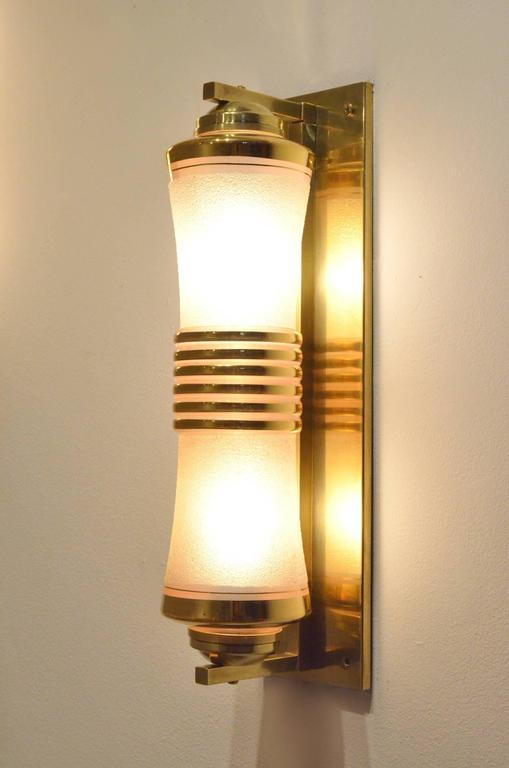 Two French 1930s Art Deco Glass and Brass Cylinder Shaped Wall Sconces Lamps For Sale at 1stdibs