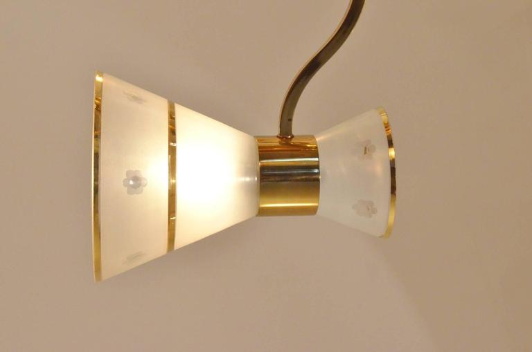 Mid-Century French Design Etched Glass Diabolo Shaded and Brass Chandelier Lamp 3