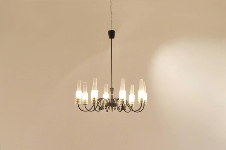 Mid-Century French Design Etched Glass Diabolo Shaded and Brass Chandelier Lamp 4