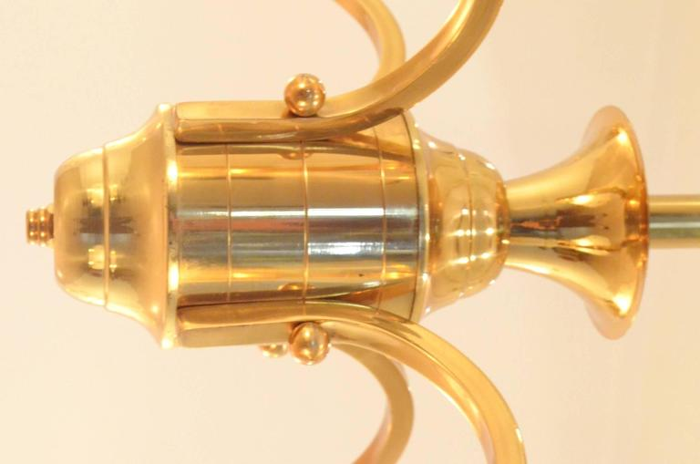 Mid-Century French Design Etched Glass Diabolo Shaded and Brass Chandelier Lamp 5