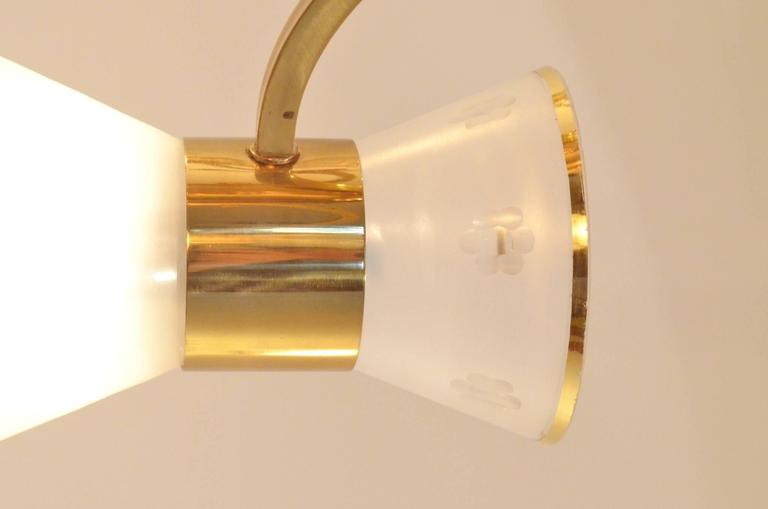 Mid-Century French Design Etched Glass Diabolo Shaded and Brass Chandelier Lamp 7