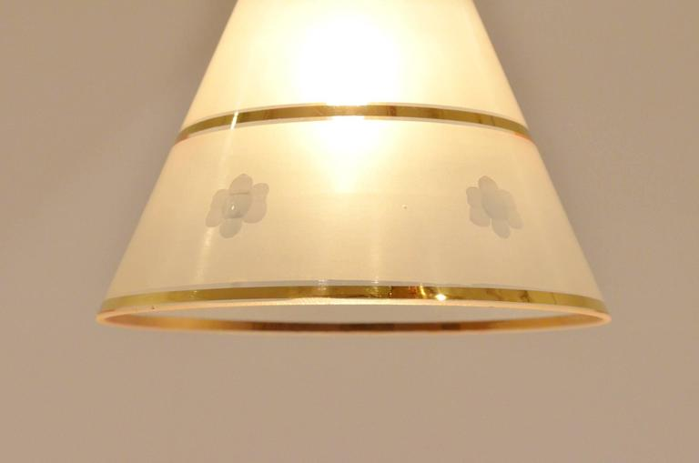 Mid-Century French Design Etched Glass Diabolo Shaded and Brass Chandelier Lamp 9