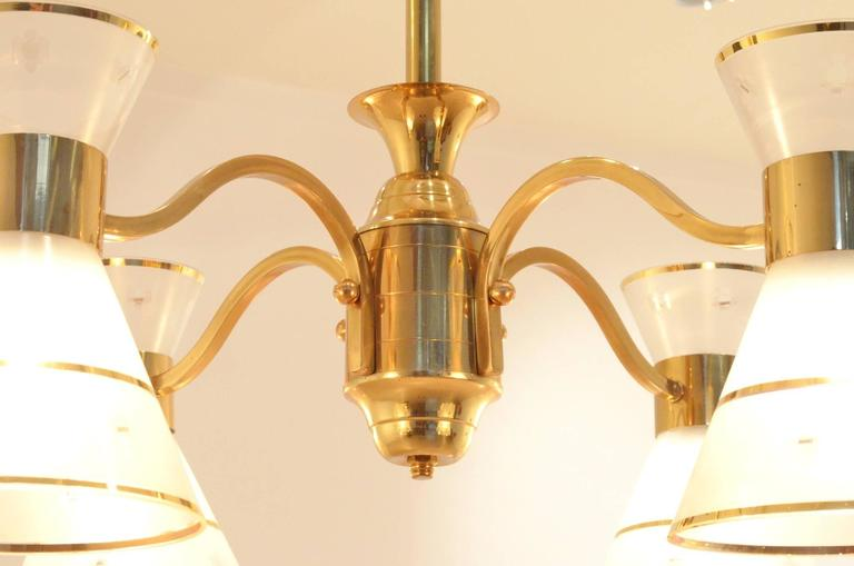 Mid-Century French Design Etched Glass Diabolo Shaded and Brass Chandelier Lamp 10
