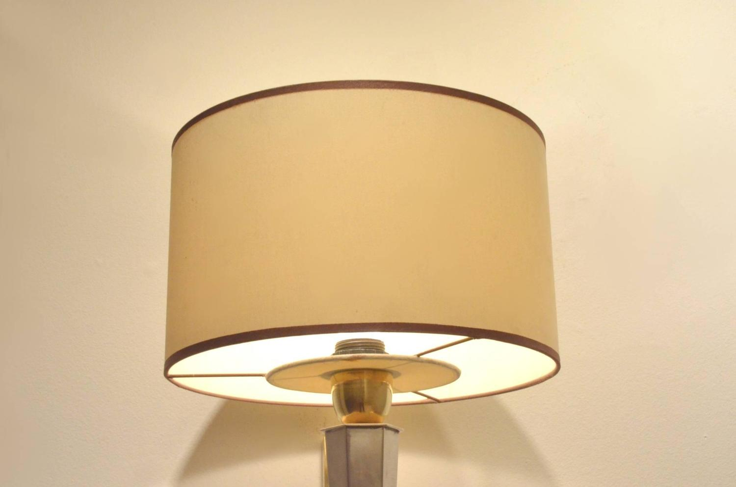Pair of Mid-Century Maison Jansen Style Bicolored Brass Wall Sconces Lamps For Sale at 1stdibs
