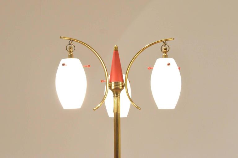 Mid-Century Italian Design, Suspended Opaline Glass and Brass Floor Lamp In Good Condition For Sale In Brussels, Ixelles