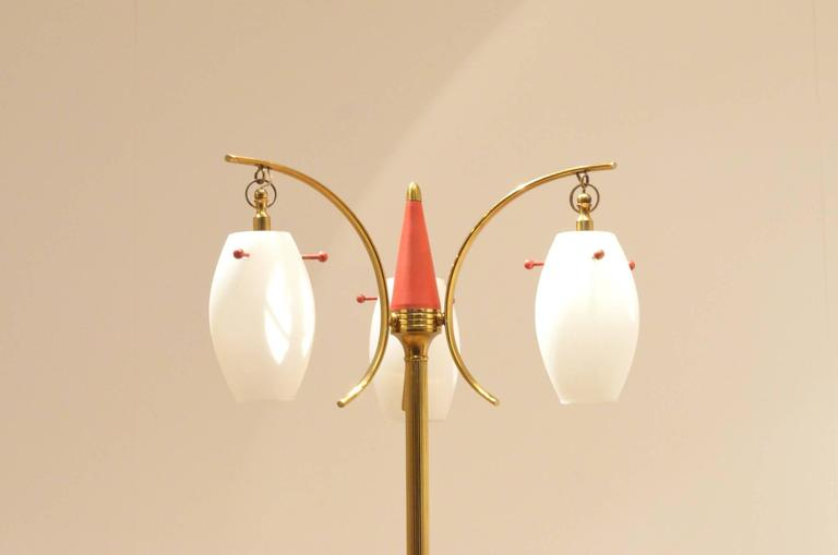 Mid-Century Italian Design, Suspended Opaline Glass and Brass Floor Lamp For Sale 3