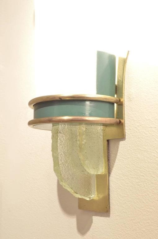 French Design Extra Large Art Deco Brass and Opalescent Glass Wall Sconces Lamps at 1stdibs