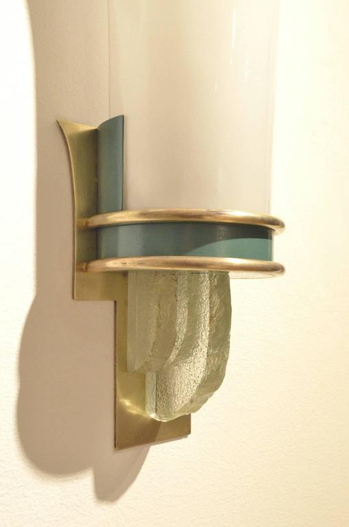 Large Glass Wall Sconces : French Design Extra Large Art Deco Brass and Opalescent Glass Wall Sconces Lamps at 1stdibs