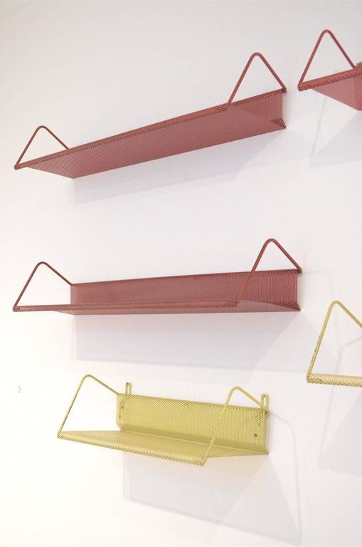 Nine Mid-Century Design Mathieu Matégot Tricolor Metal Bookshelves for Artimeta 2