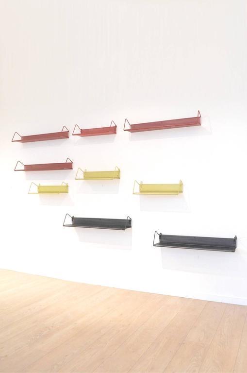 Nine Mid-Century Design Mathieu Matégot Tricolor Metal Bookshelves for Artimeta 8