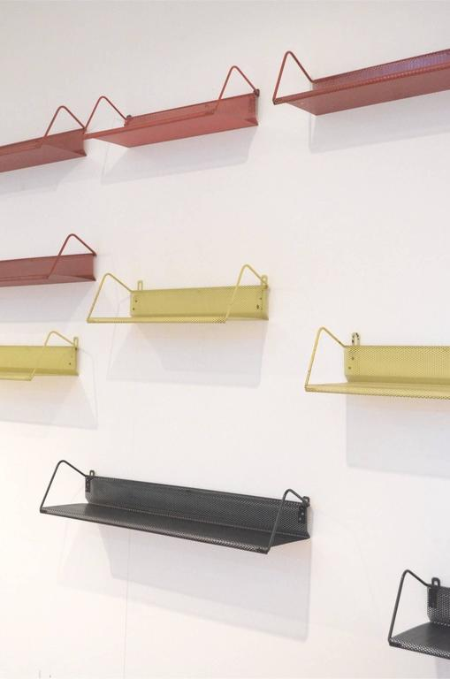 Nine Mid-Century Design Mathieu Matégot Tricolor Metal Bookshelves for Artimeta 9