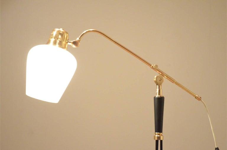 Mid-Century Modern Mid-Century Scandinavian E.S Adjustable Brass Arm and Black Metal Floor Lamp For Sale