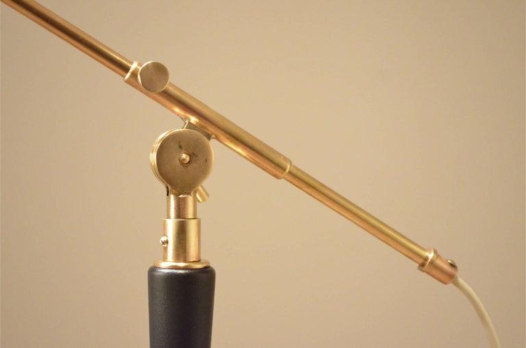 Painted Mid-Century Scandinavian E.S Adjustable Brass Arm and Black Metal Floor Lamp For Sale