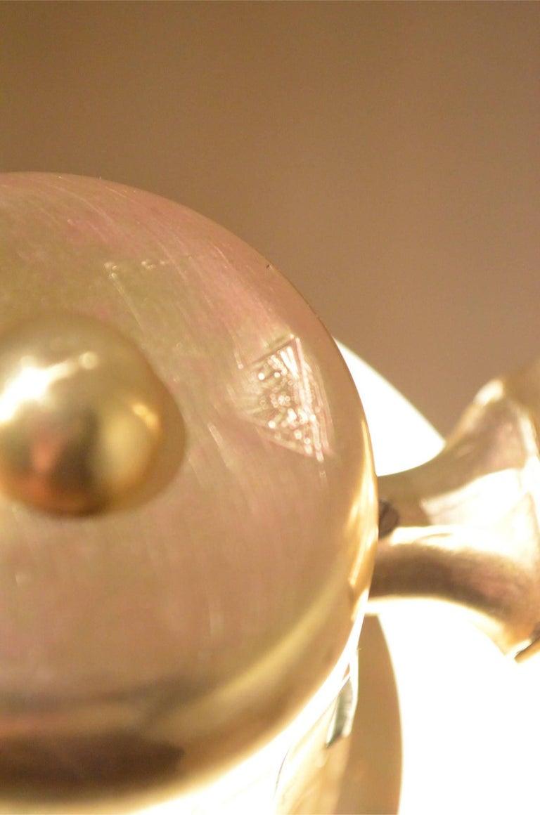 20th Century Mid-Century Scandinavian E.S Adjustable Brass Arm and Black Metal Floor Lamp For Sale