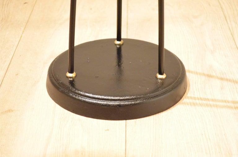 Mid-Century Scandinavian E.S Adjustable Brass Arm and Black Metal Floor Lamp For Sale 3