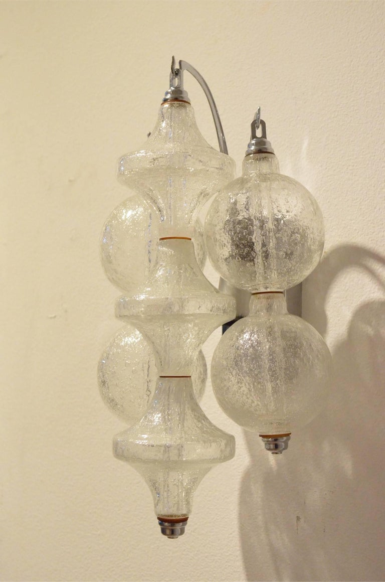 False Pair of 1970s Tulipan Drop Down Blown Glass Wall Sconces by Kalmar Franken For Sale at 1stdibs