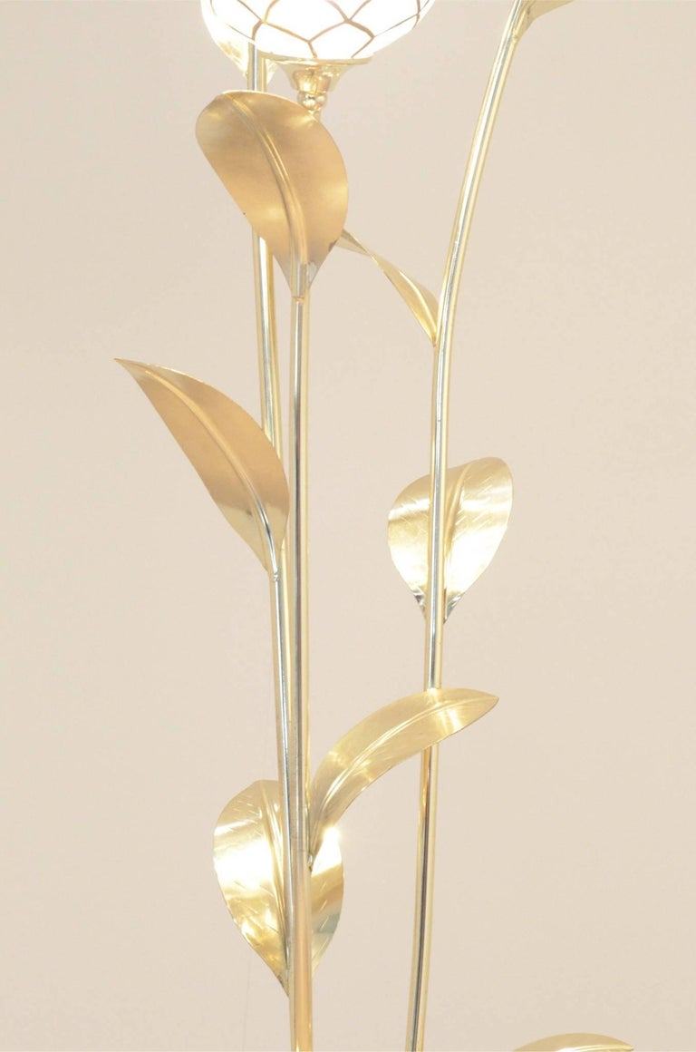 1970s full brass and mother of pearl stems floral floor for Floor lamp glass stem