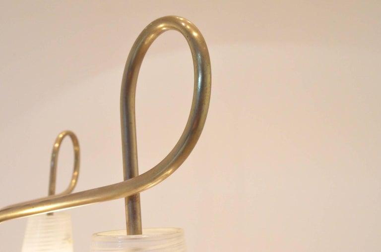 Mid-Century Modern Italian Design Brass Glass 1950s Organic Chandelier For Sale 4