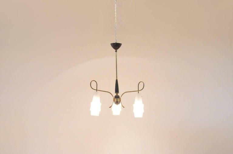 Mid-Century Modern Italian Design Brass Glass 1950s Organic Chandelier 2