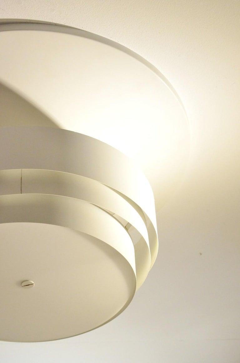 Danish White Metal Ceiling Lamp by Hans-Agne Jakobsson for Markaryd For Sale 3