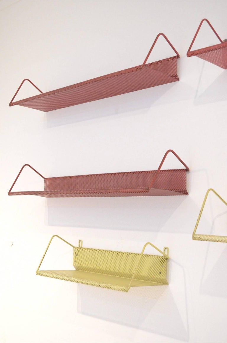 9 Midcentury Floating Tricolor Metal Wall Bookshelves Matégot for Artimeta 2
