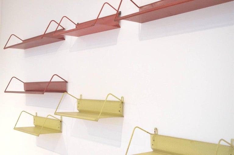 9 Midcentury Floating Tricolor Metal Wall Bookshelves Matégot for Artimeta 3