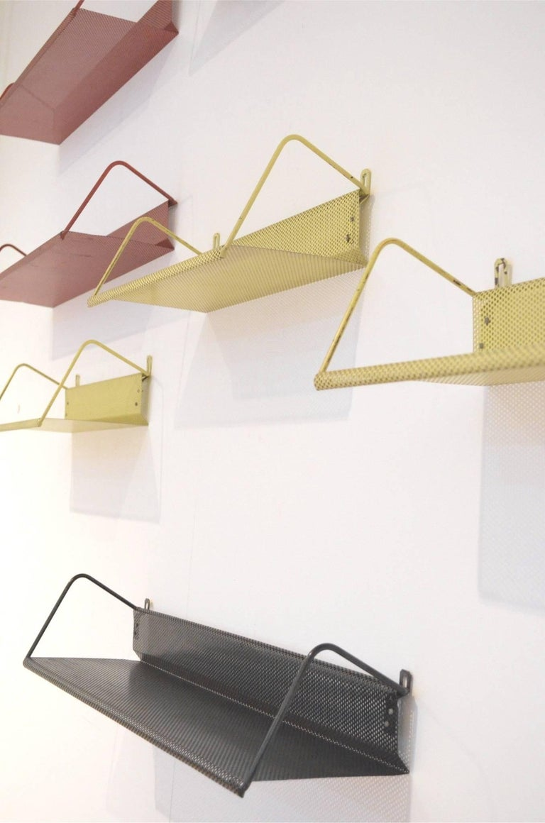 9 Midcentury Floating Tricolor Metal Wall Bookshelves Matégot for Artimeta 4