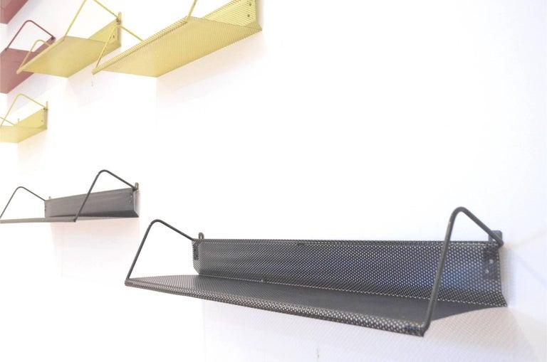 9 Midcentury Floating Tricolor Metal Wall Bookshelves Matégot for Artimeta 5