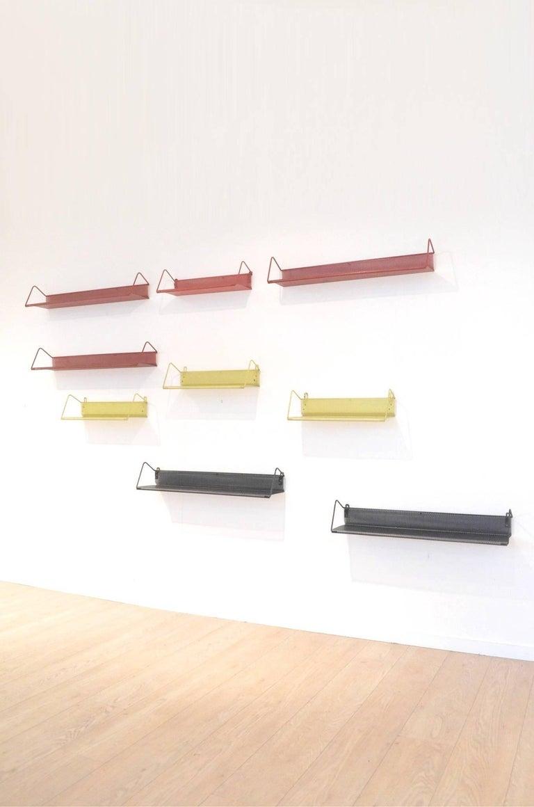 9 Midcentury Floating Tricolor Metal Wall Bookshelves Matégot for Artimeta 8