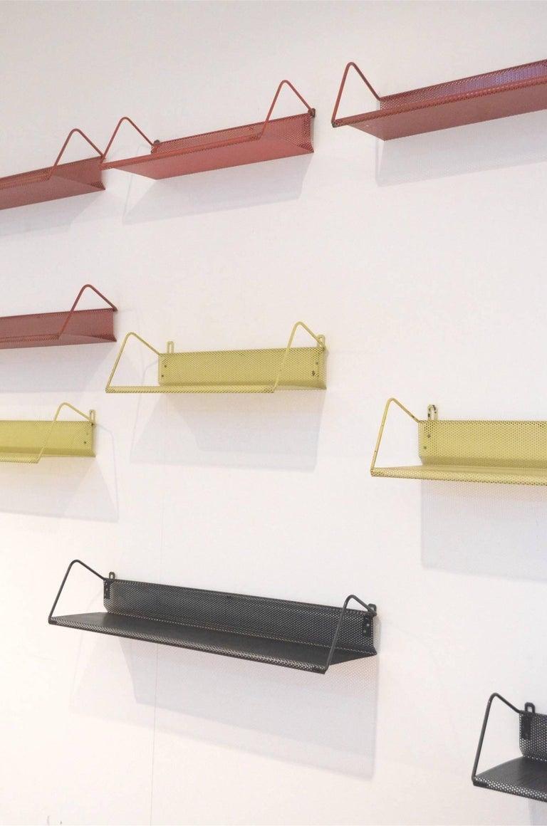 9 Midcentury Floating Tricolor Metal Wall Bookshelves Matégot for Artimeta 9
