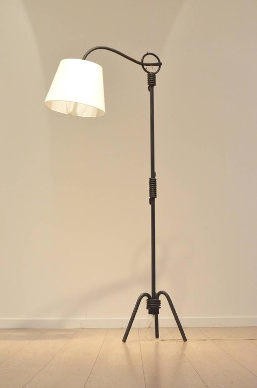Adjustable Wrought Iron Floor Lamp Attributed To Jean