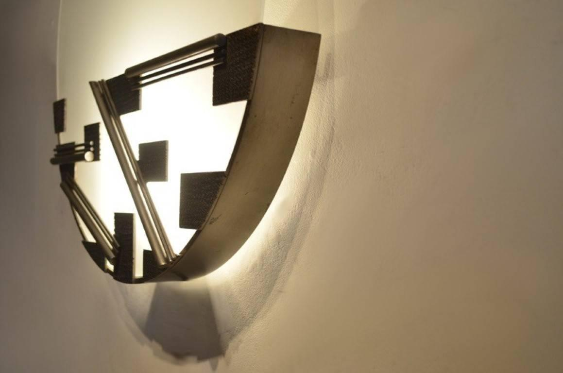 Round Bauhaus Etched Opaline Glass and Metal Geometrical Design Wall Sconce For Sale at 1stdibs