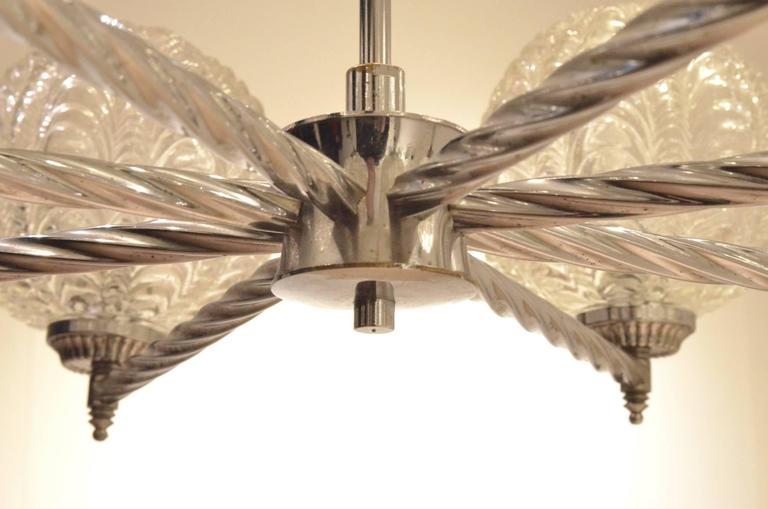 French Art Deco Nickeled Metal & Seashell Patterned Glass Chandelier Pendant Lamp For Sale