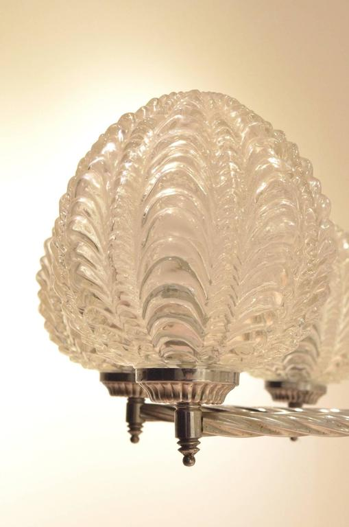 Mid-20th Century Art Deco Nickeled Metal & Seashell Patterned Glass Chandelier Pendant Lamp For Sale