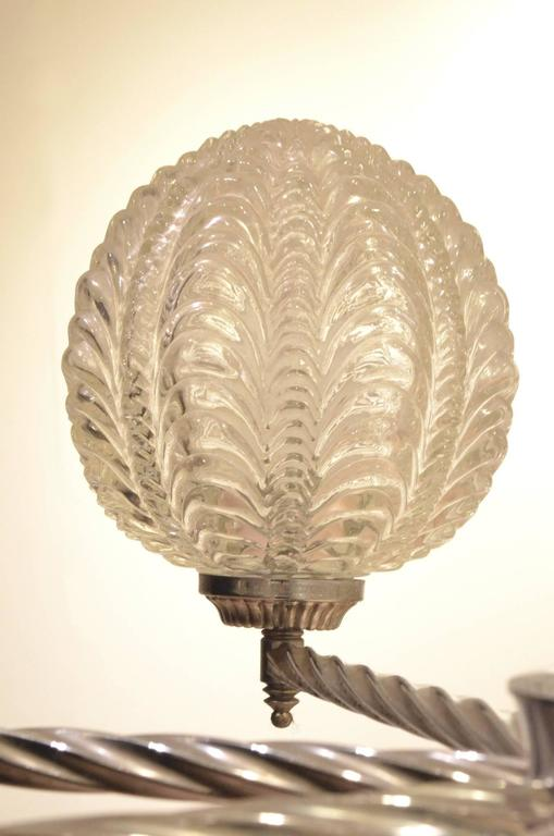 Art Deco Nickeled Metal & Seashell Patterned Glass Chandelier Pendant Lamp For Sale 1