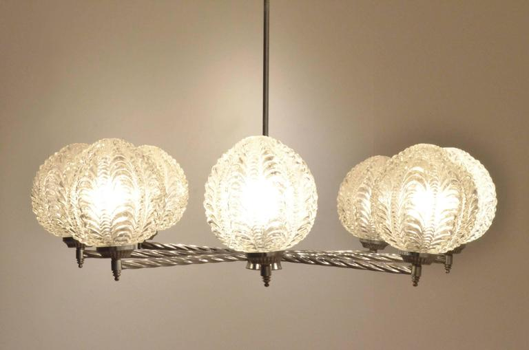 Art Deco Nickeled Metal & Seashell Patterned Glass Chandelier Pendant Lamp For Sale 4